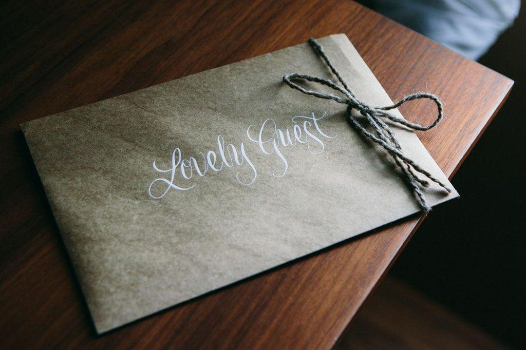white wedding calligraphy