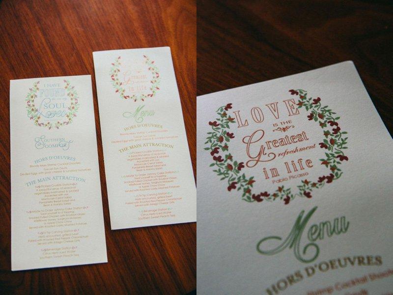 floral wedding menu program