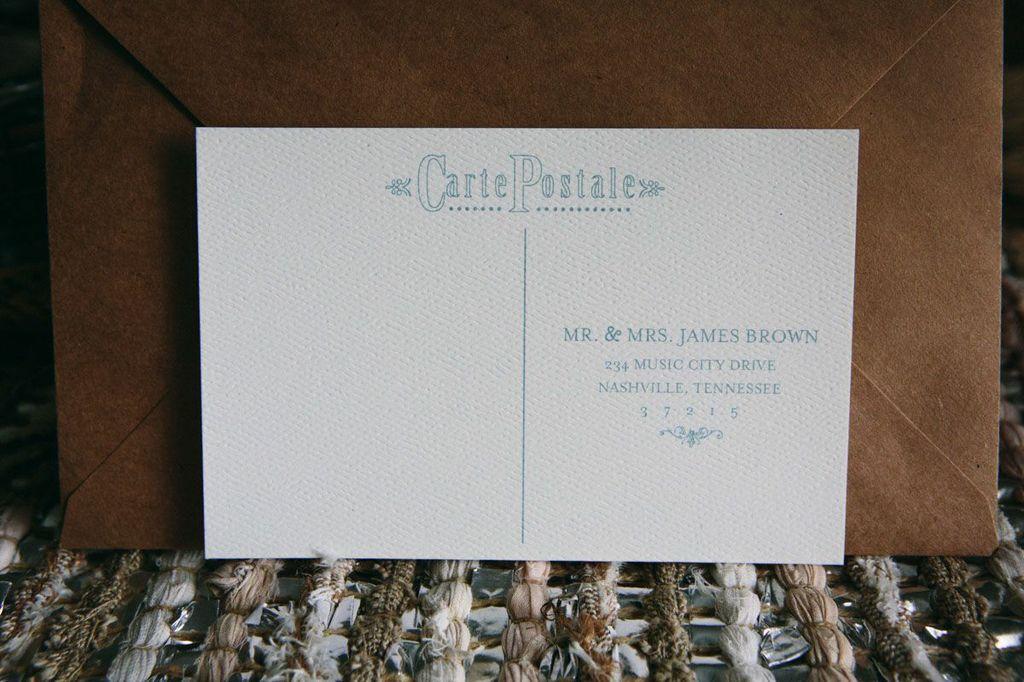 aqua wedding postcard